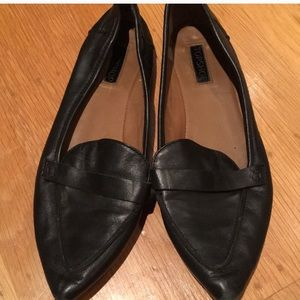 TOPSHOP BLACK LEATHER LOAFER FLATS SIZE 39